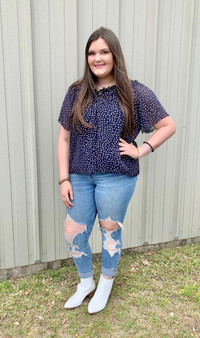 Jenna Dotted Top - navy woven top with cream colored dots.