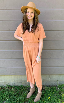 Maizie Smocked Jumpsuit - short sleeve romper with a fitted waist.