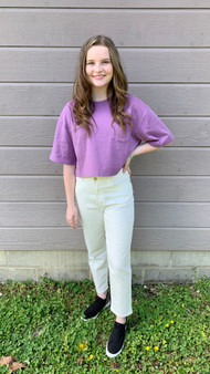 Logan Basic Crop - purple basic top with a cute little pocket.