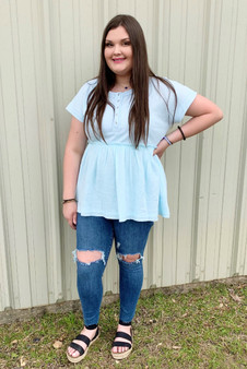 Libby Babydoll Top - baby blue short sleeve top with a ruffled bottom.