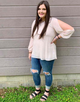 Light Blush Top - A cute top for any occasion. It is very flowy and breathable.