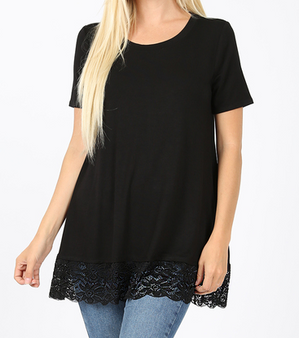 Audra Lace Top - LUXE RAYON SHORT SLEEVE ROUND NECK LACE BOTTOM DETAIL TOP