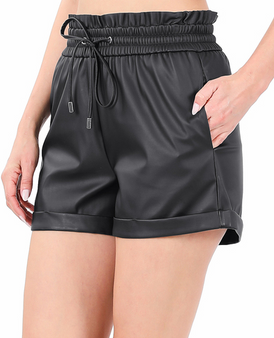 Ada Leather Shorts - VEGAN LEATHER PAPERBAG WAIST SHORTS WITH POCKETS