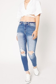charlotte skinny jeans - high waisted, medium wash, skinny jeans with distress located at the knees.