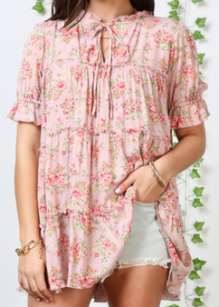 Plus Floral Top - Plus Size Mini Ruffle Detailed Tiered Peasant Blouse Top