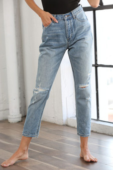 catherine mom jeans - Cotton ripped distressed hgihwaisted boyfriend jeans