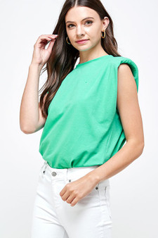 Lisa Sleeveless Top - Shoulder pad accent sleeveless solid top.
