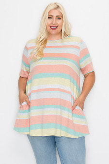 plus striped top - PLUS SIZE SHORT SLEEVES STRIPE PRINT TUNIC TOP WITH POCKETS