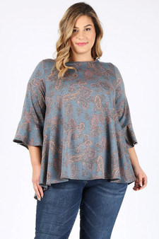 plus paisley top - PLUS SIZE BELL SLEEVES PAISLEY PRINT TUNIC TOP