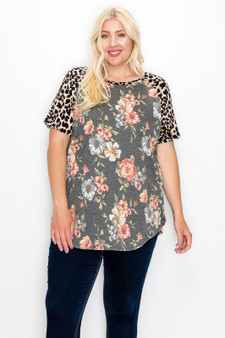 plus contrast top - Plus size leopard print contrast sleeves tunic top