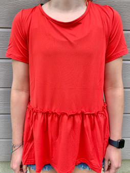 willow babydoll top - red short sleeve top with one bottom ruffle