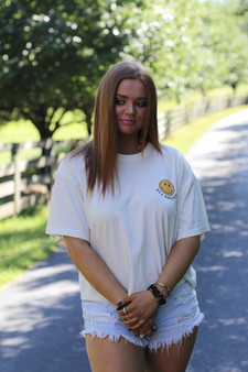all smiles tee - yellow crop top with small smiley face