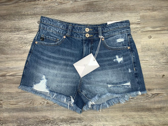 Layla High Rise Shorts - dark wash denim shorts with fringe bottoms and a tiny bit of distress