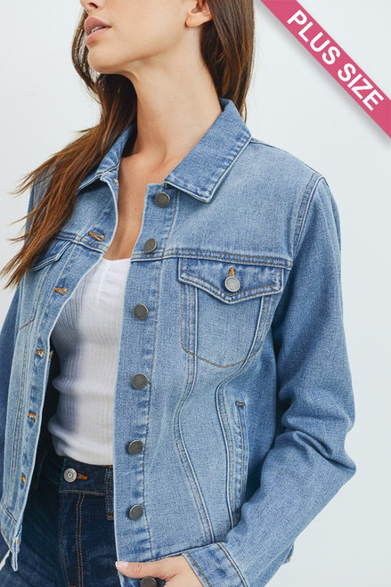 You can never go wrong with a Basic Denim Jacket for a fashionable look on cool days.  This plus size denim jacket comes in wash worn denim complete with collar, double breasted pockets, side pockets and button down style.  100% cotton denim.