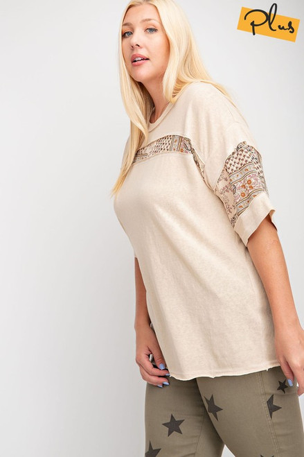 Look lovely in this extra cute plus sized Mixed Floral Blocked top.  Short sleeves, Melangie cotton knit mix print top, dolman style, boxy silhouette, boho inspired, lightweight, round neck, tan body with boho mixed print accent.