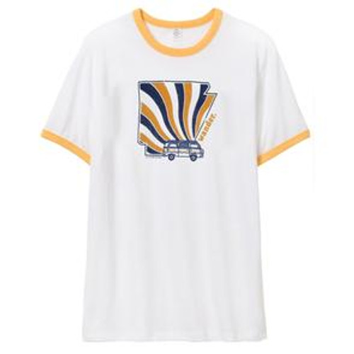 How cool is this ?  This Arkansas Retro Bus tee from Stated Outfitters is pretty cool and it's made right here in Arkansas.  White ringer tee with sunshine yellow trim.  Navy and yellow print, short sleeve, tshirt