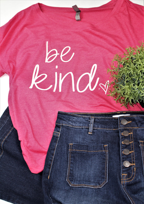The best thing you can do for others is just Be Kind !  Our cute Be Kind tee from Caddo Clothing Company is printed on a bright pink Next Level short sleeve tee !