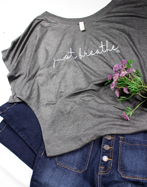 Breathe in--Breathe out, relax , but Just Breathe !  A new tee from Caddo Clothing Company, printed on a super soft, gray, Bella Canvas short sleeve tee