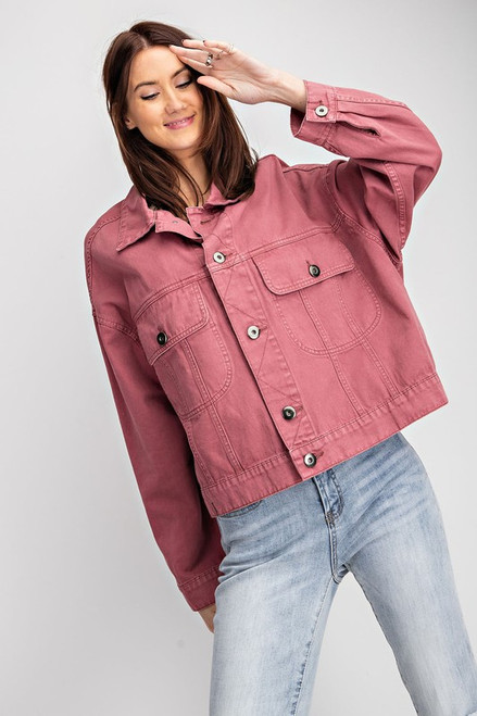 Spring colors are the best and that is how we feel about this awesome Raspberry Cropped Jacket.  soft twill, loose fit crop Spring jacket, button down, collared, pockets/flap pocket, cropped silhouette, long sleeves