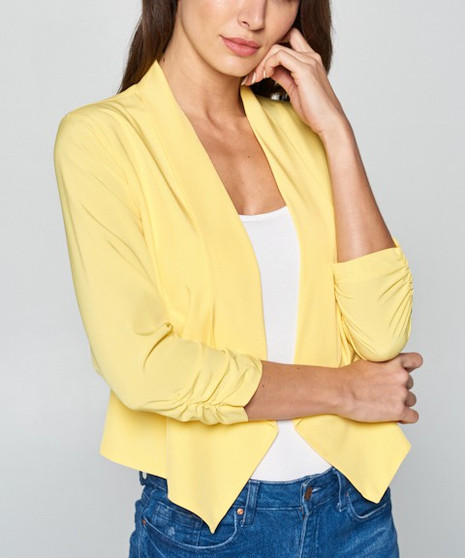 Open loose cinched sleeve blazer in blush navy off white yellow 92% POLYESTER, 8% SPANDEX.