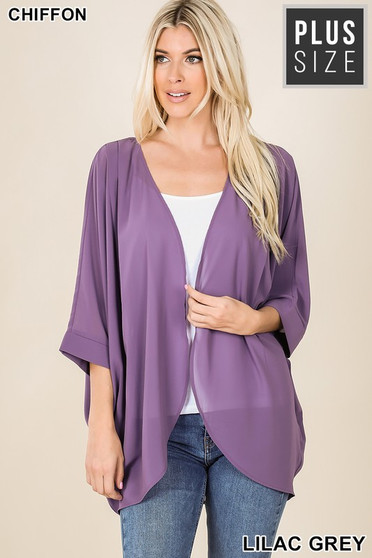 Plus woven chiffon cardigan with shoulder pleat  perfect layering piece over a trendy tshirts    100% Polester