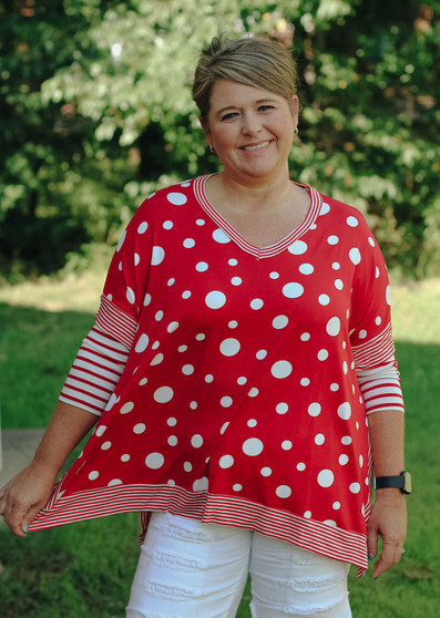 Missy Striped Top  - The perfect transition top from summer to fall!!  - Red & white polka dots with striped accents