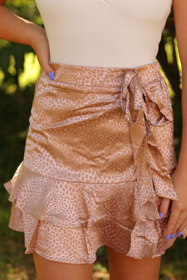 Lucy Leopard Skirt  -  a champagne pink skirt that's perfect for any occasion  - model is wearing size small