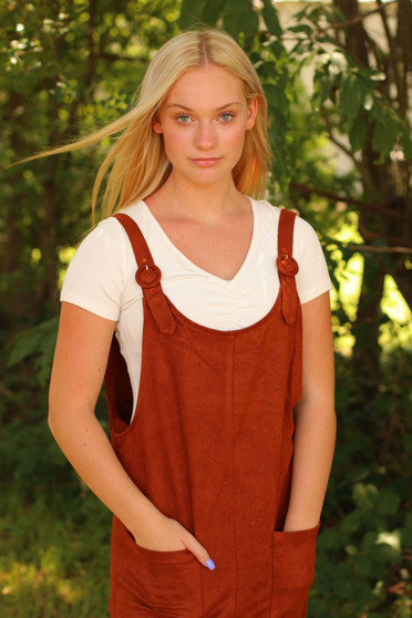 Kai Overall Jumpsuit  - A corduroy material jumpsuit PERFECT for fall  - model is wearing a small, runs a little big