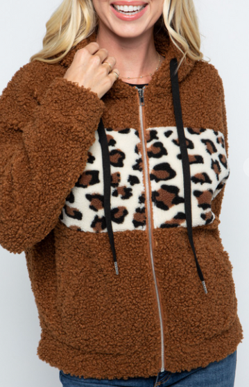 Caylee Panel Jacket - an adorable and cozy teddy bear hoodie with a hint of leopard print to brighten your day!