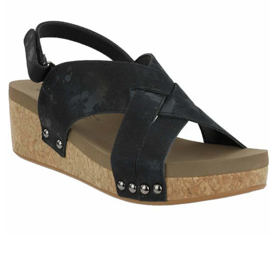 Wow Wedges - faux leather upper with a slingback hook and loop closure for a secure snug fit. The smooth EVA insole and rubber outsole ensures a comfortable stride with every step.
