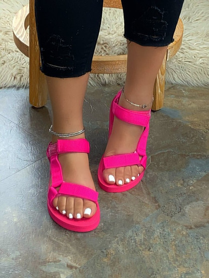 jewel strappy sandals - neon pink sandals with two adjustable straps to fit to your comfort.
