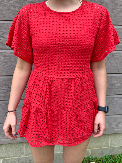 kelly eyelet top - red short sleeve top with a ruffled bottom