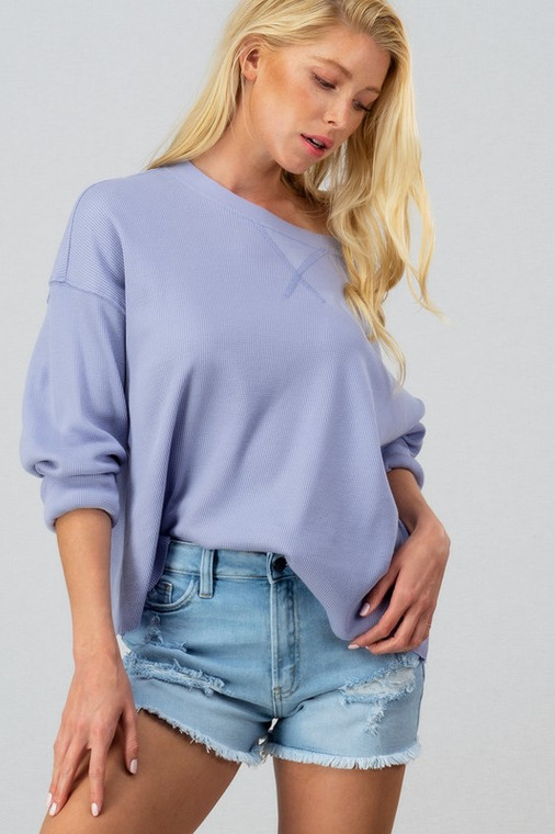Casual Long sleeve thermal waffle top great quality perfect for the cool days of spring