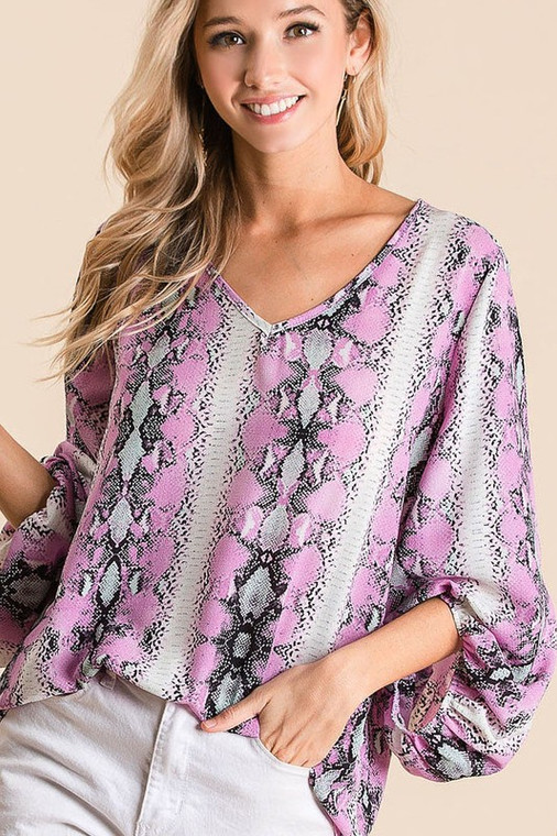 Snake skin print bubble crepe vneck top with bubble sleeves