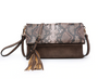 Austin Tassel Flapover Clutch Available in Black Python and Brown Python Print  Flapover Tassel Crossbody Clutch  Monogrammable Zipper and magnetic snap closure 2 separate compartments Detachable adjustable shoulder strap Gold tone hardware Inner inside compartment features 4 credit card slots  Back zipper  Dimensions: 11'' L x 0.5'' D x 7'' H