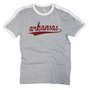 Arkansas Jersey Tee  Color: Grey/White  Features: Contrast ribbed collar and sleeve openings. Side seamed. Unisex sizing.  Fabrication: 100% Cotton