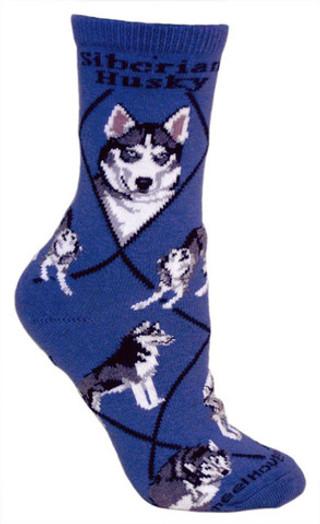 Siberian Husky crew socks in blue by Wheel House Designs