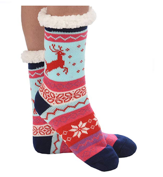 Sherpa Slipper Socks in Nordic Blue and Red