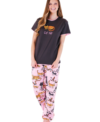 """Cat Nap"" pajama set by Lazy One in pink and gray with napping cats and cell phone pocket"