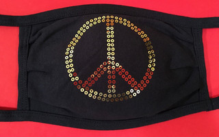 Gold sequin Peace face mask by Soft as a Grape