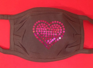 Pink Heart face mask with pink sequins on gray mask