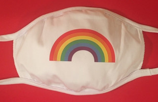 Rainbow Pride face mask on white
