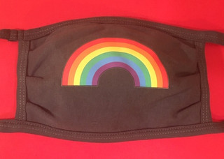 Rainbow Pride face mask on gray