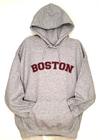 Boston Hooded Pullover Sweatshirt in heather gray