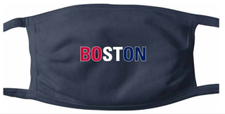 Boston Face Mask in red, white and blue print on navy