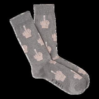 Middle Finger Socks for Men by K. Bell in Gray
