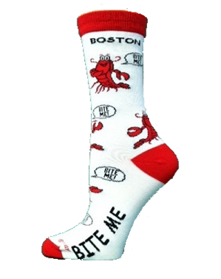 Bite Me Boston Lobster crew Socks by For Bare Feet