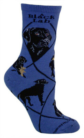 Black Lab Socks on Blue by Wheel House Designs