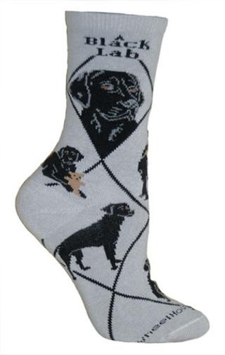 Black Lab Socks in Gray by Wheel House Designs