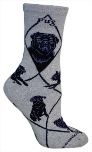 Black Pug Socks on Gray by Wheel House Designs